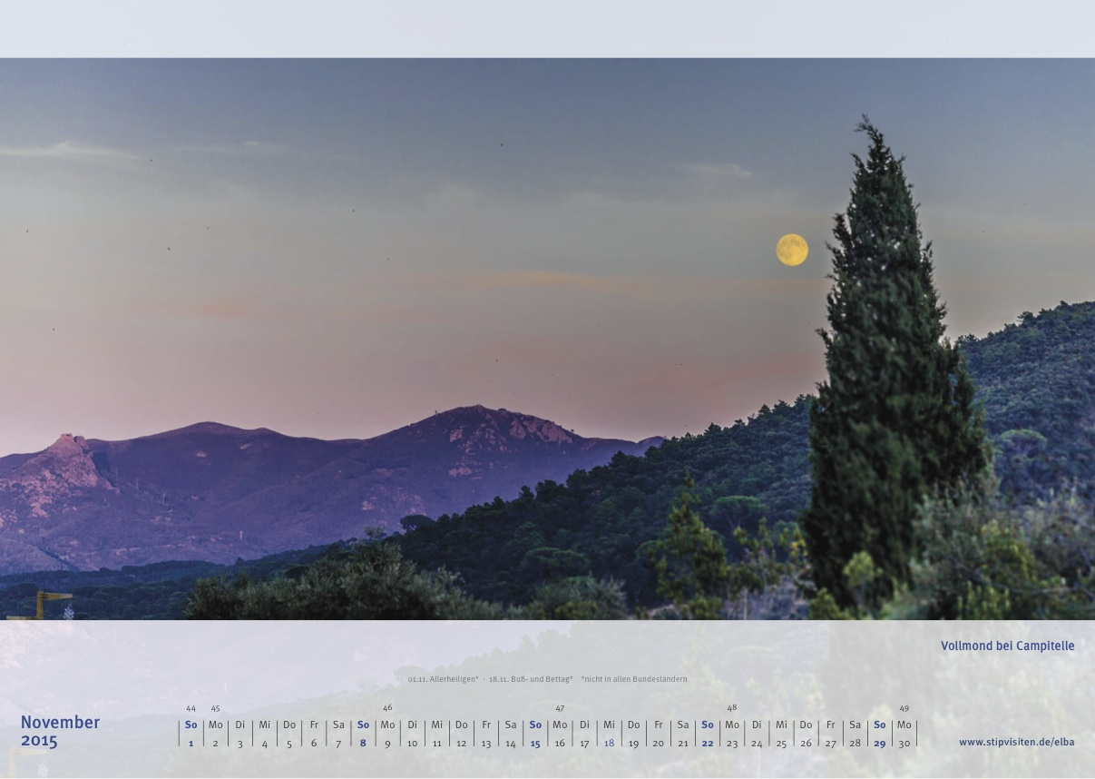 Novemberblatt Kalender 2015 –Elba
